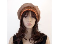 CHAPEAU STYLE BERET ORANGE ET MARRON