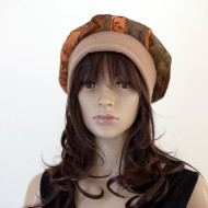 CHAPEAU STYLE BERET MARRON ET ORANGE